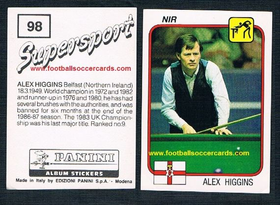 1987 Alex Higgins Supersport Panini sticker #98 unused Hurricane snooker legend